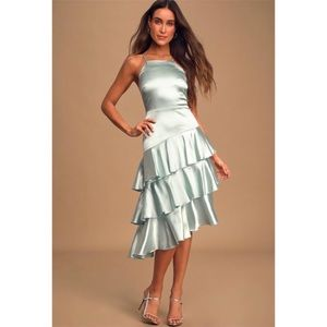 Mint Blue Satin Ruffle High Low dress
